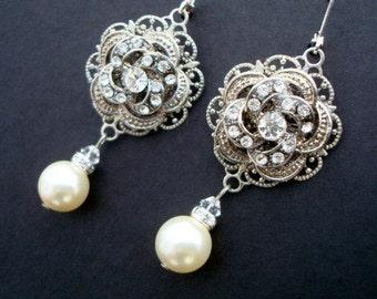 Ivory or White Pearl, Bridal Wedding Earrings, Rhinestone Wedding Bridal Earrings,Rose Chandeliers,Pearl Drops,Pearl, Filigree,Rose,ROSELANI