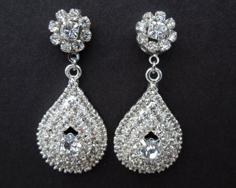 Bridal rhinestone Earrings Crystal Wedding Earrings rhinestone Teardrop Earrings Rhinestone Chandelier earrings statement Earrings HAYDEN