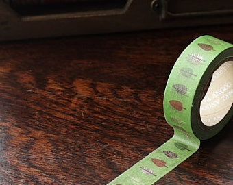 Tape-Washi Tape-Masking Tape-Single Roll-Green with Trees