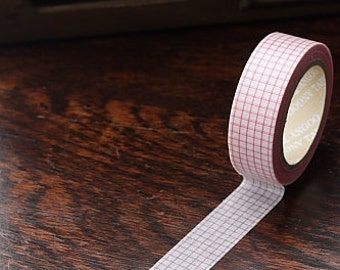 Tape-Washi Tape-Masking Tape-Single Roll-Pink and White Grid