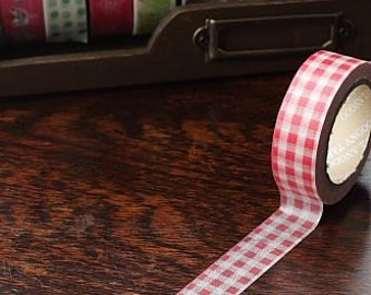 Tape-Washi Tape-Masking Tape-Single Roll-Red and white Checkers