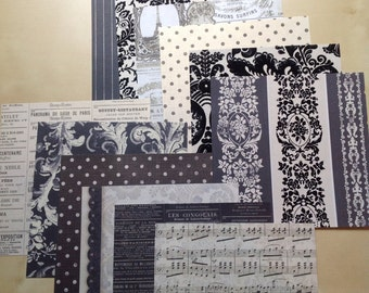 Paper Pack 12-6 x 6 sheets-Black and White Vintage