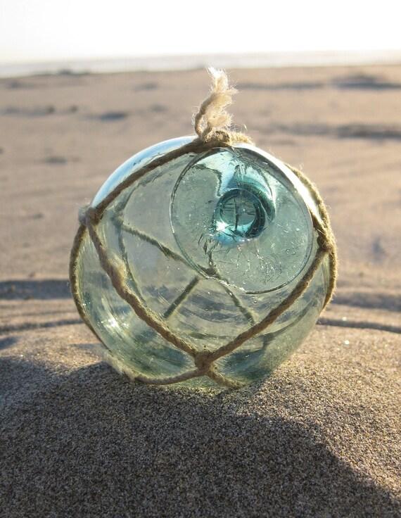 "Japanese Glass Fishing Float - 2.5"" Diameter, Original Net"