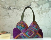 Crochet bag , Granny Square, Fall autumn fashion, Patchy crochet purse, Shades purple, pumpkin, turquoise, - Shoulder Bag, patchwork