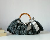 Knitted Women's tote bag, handmade purse, accessories, Knit Handbag, shades dark grey, autumn, winter Bag, christmas gift,  silver grey bow