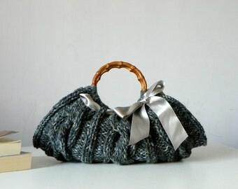 Knitted Women's tote bag, handmade purse, accessories, Knit Handbag, shades dark grey, autumn, winter Bag, christmas gift,  silver grey bow