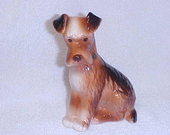 Royal Copley  Airedale Terrier Dog  Vintage Figurine Ceramic Pottery 1940's