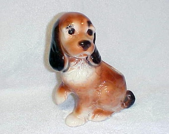 Vintage Royal Copley   Cocker Spaniel Dog Raised Paw Figurine Planter Animal Vase Ceramic Pottery 1940's