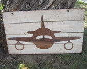 Hand Painted Airplane Hanging Wall Decor