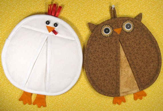 SALE-PDF ePattern-Chicken and Owl Pot Holders-Pot Pinchers, Home Decor, Chicken Home Decor, Owl Home Decor