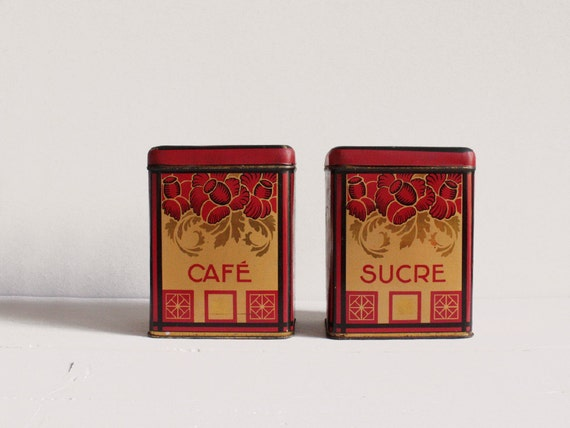 Vintage French kitchen canisters, Two canisters from the Art Deco period