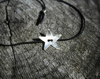 Black Silk thread bracelet with Sterling Silver Star - adjustable