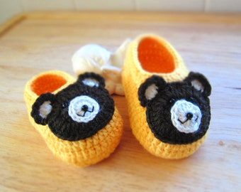 Cute Bear Crochet Baby Booties - 4 Sizes