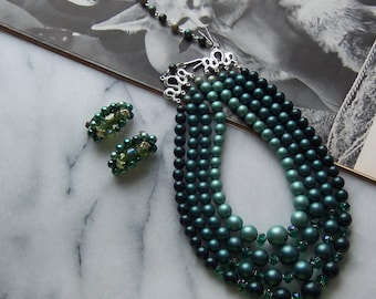 Vintage 4 Strand Verigated Teal Beaded Necklace Plus Matching Clip on Earrings c 1960s