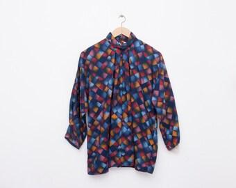 80s Nos vintage blouse multicolor