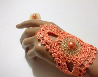Light peach color lace gloves,Crochet lace,cuffs,arm cuff, fingerless gloves,gypsy, lace gloves,Bead embroider,Luminoused