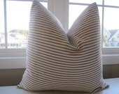 Pillow, Decorative Throw Pillow Cover, Chocolate Brown Ticking Stripe Pillow Cover 18 x 18, 20 x 20, 22 x 22, 24 x 24