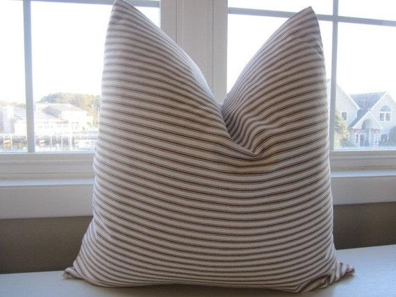 Pillow Decorative Throw Pillow Cover Chocolate Brown Ticking