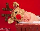 Baby Reindeer Hat- Newborn Choose Boy or Girl