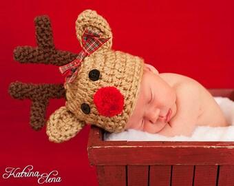 Baby Reindeer Hat/ Newborn Reindeer Hat/ Christmas Newborn Hat/ Baby Deer Hat/ Newborn Photo Prop/ Gender Neutral Hat/ 2 WEEK TURN AROUND