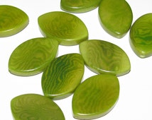 Six Lime Green Tagua Nut Beads, Oval Eyes, Eco Friendly Beads, Natural ...