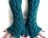 Fingerless Gloves Long  Blue Green / Teal Soft Cabled  Wrist Warmers