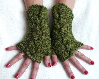 Fingerless Gloves Cabled Green Wrist Warmers Warm Soft Handknit