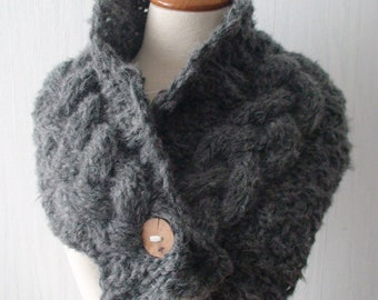 Cowl/ Scarf/ Neck Warmer Handknit Grey Cabled with a Wooden Button