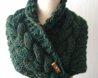 Cabled Neck Warmer Cowl in Green Tones, Hand Knitted Scarf SALE
