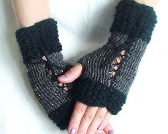 Fingerless Gloves Black and Grey Tweed Corset Wrist Warmers with Suede Ribbons Victorian Style
