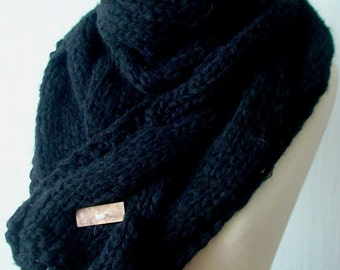 Scarf Black Cabled Cowl Thick and Warm Hand Knit