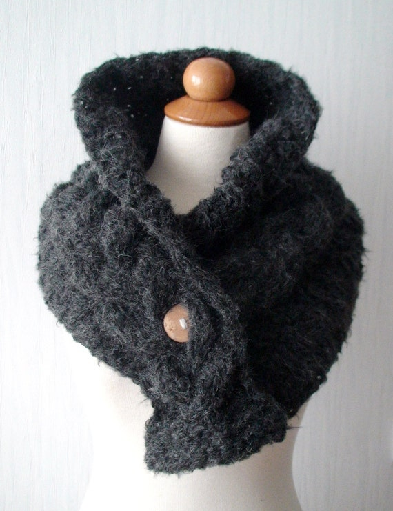 Cowl/ Scarf/ Neck Warmer Handknit Dark Grey Cabled  with a Wooden Button