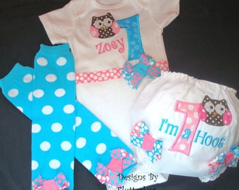 PERSONALIZED 1ST BIRTHDAY Onesie, Bloomers Diaper Cover and Leg Warmers Set - Smash Cake Outfit -Appliqued Owl in Bubblegum Pink and Blue