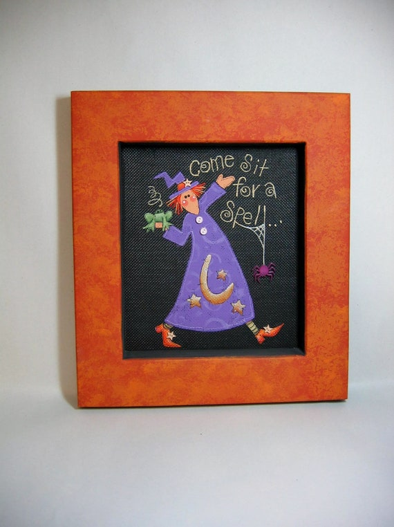Folk Art Witch, Halloween, Folk Art, Tole Painted, and Framed in Orange