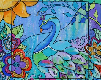 Proud Peacock Pop Art Painting Floral Original by Melanie Douthit