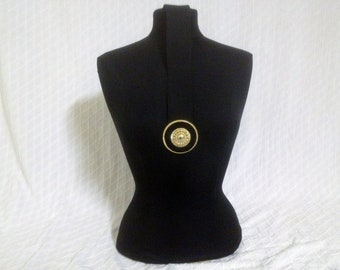 """Vintage 1980's Black Elastic Waist Belt with Gold and Suede Talisman Buckle 31"""" Wiast"""