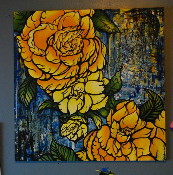RESERVED for cate Abstract Floral Oil painting 2 feet by 2 feet Yellow Roses on wood OOAK Art tattoo art