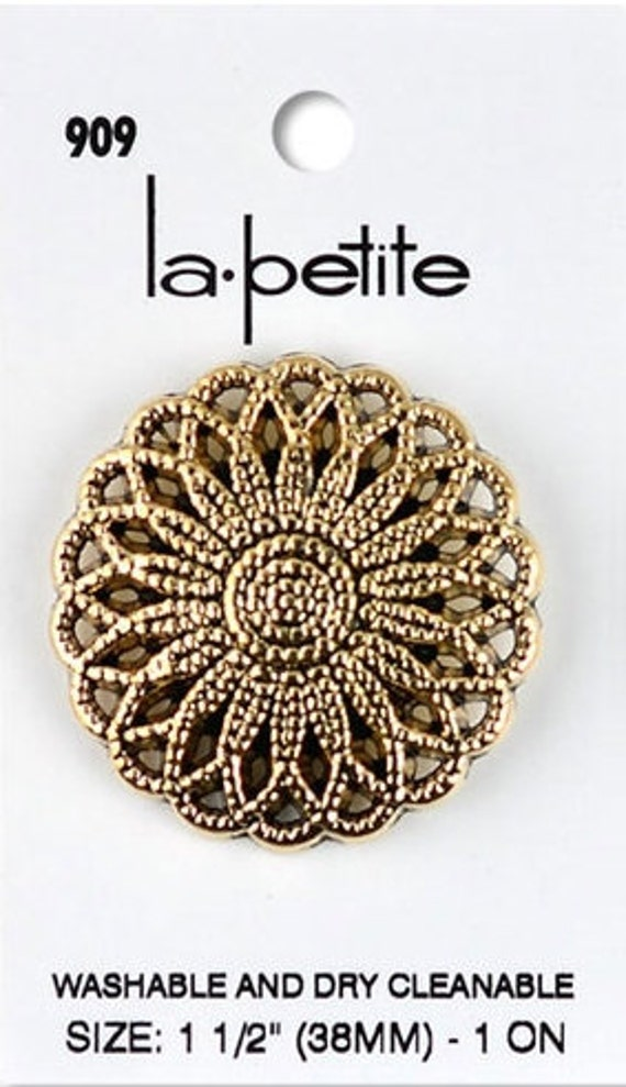 "La Petite Buttons 1 1/2"" Large Antique Gold  Shank Sewing Clothing Button La-Petite LaPetite"