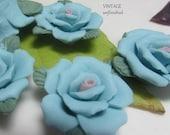 Handmade 30mm Porcelain  Blue Rose Flowers Beads (4)