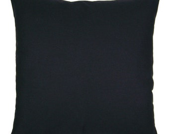 Solid Black Cotton Pillow Cover - Available In 16 18 and 20 Inch