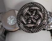 Silver Button Bracelet/Statement Bracelet/Charm Bracelet/OOAK/Pearls/Rhinestone/Gift For Her/Expandable/