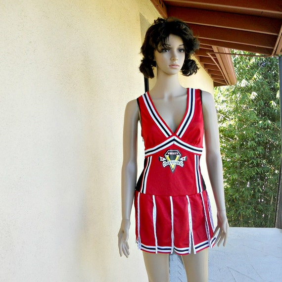 Glee Costume - Halloween Costume - Vintage Cheerleading Uniform - Red Black and White - Varsity - Cheerleader - Size Medium - Size 10