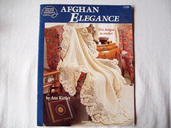Crocheted afghan pattern book, Afghans Elegance, blanket or throw pattern, american school needlework 1129