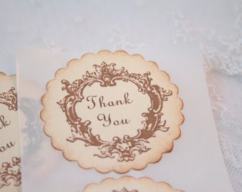 Baby Shower Thank You Stickers Neutral Favor Seals Vintage Shower Set of 10