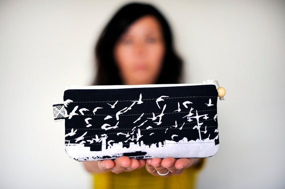 eco friendly handprinted New Jersey City birds pouch in black