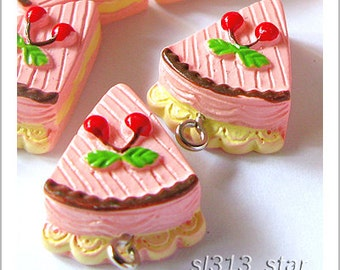 5pcs of Slice Of Cherry Cake Lucite Charms