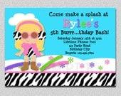 Winter Pool Party Birthday Invitation Winter Pool Party Invitation Boys Girl Printable