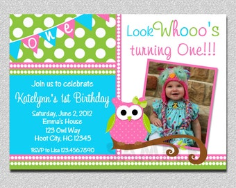 Owl Birthday Invitation,  Owl Birthday Party Invitation, Girls Owl Birthday Invitation, Owl Birthday Party, Girls Birthday Invitations