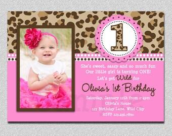 Leopard Birthday Invitation , 1st Birthday Party Invitation Printable