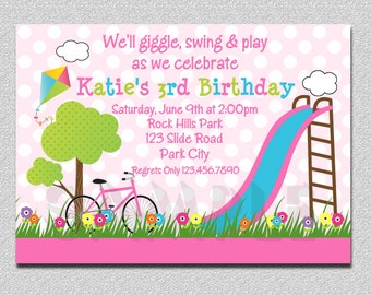 Park  Birthday Invitation Park Birthday Party Invitation Printable Boys or Girls